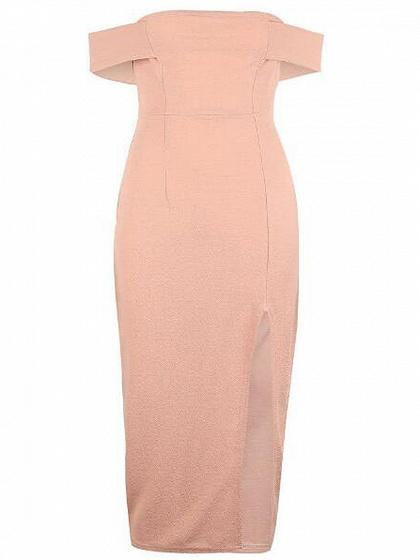 Pink Off Shoulder Side Split Bodycon Midi Dress