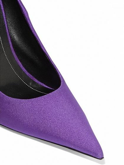 Purple Satin Look Pointed High Heeled Pumps