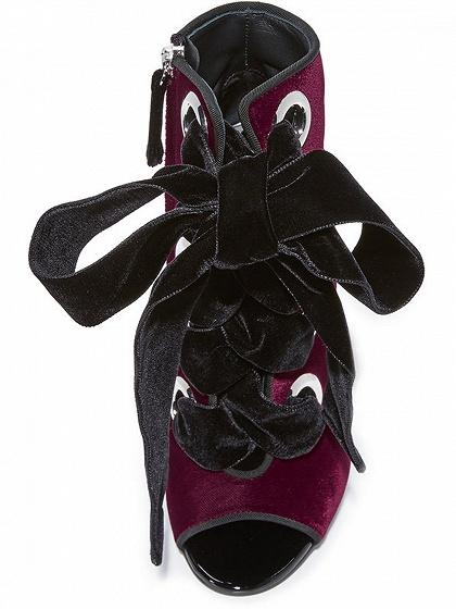 Burgundy Suede Peep Toe Lace Up Detail Heeled Sandals