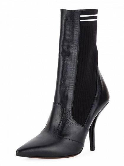 Black Leather Knitted Panel Pointed Heeled Boots