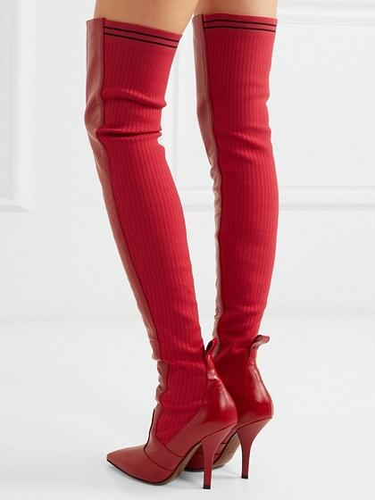 ea62e209677 Red Leather Pointed Heeled Over the Knee Boots – chiclookcloset