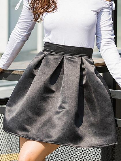 Black Satin Look High Waist Mini Skirt
