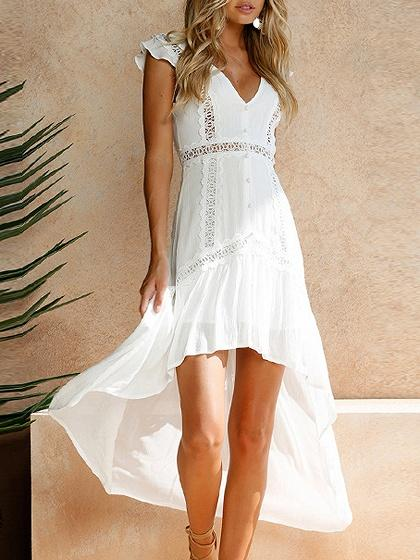 White Cut Out Detail Lace Panel Hi-Lo Dress