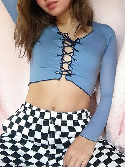 Blue Lace Up Front Long Sleeve Crop Top