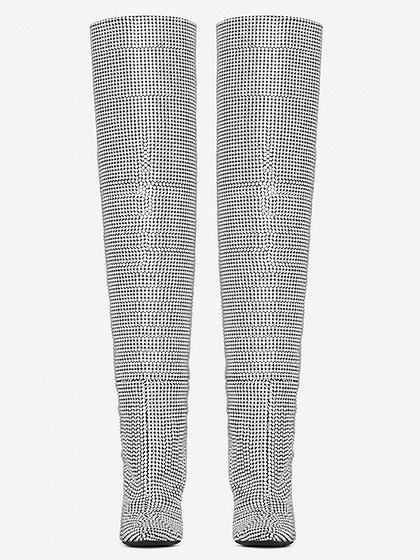 Silver Rhinestone Detail Pointed Heeled Knee Boots