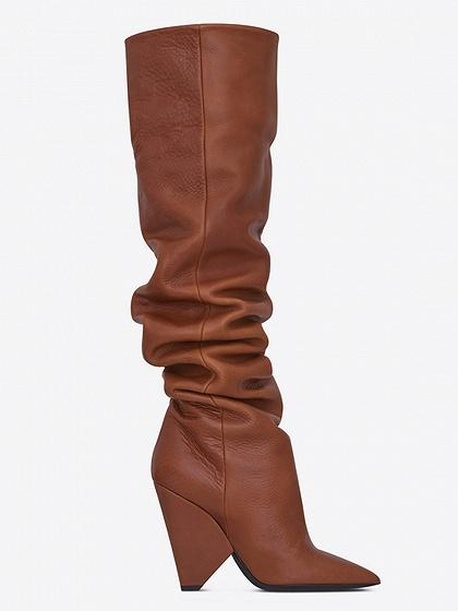 733c994574c22 Brown Leather Pointed Heeled Over the Knee Boots – chiclookcloset