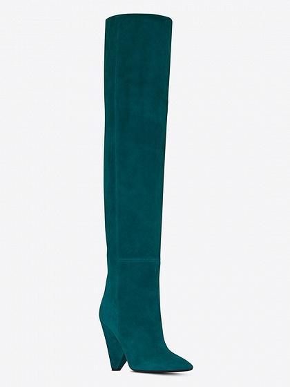 c5a1b4ab4bde8 Green Leather Pointed Heeled Over the Knee Boots – chiclookcloset