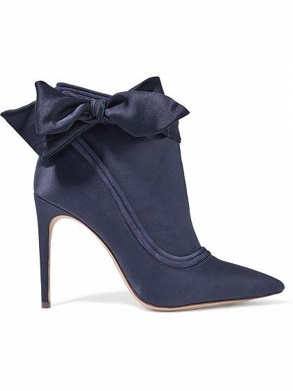 Blue Satin Look Bow Side Pointed Heeled Boots