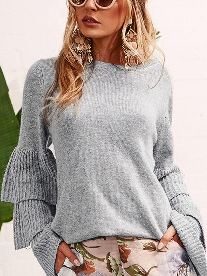Gray Layered Sleeve Knit Sweater