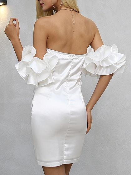 White Off Shoulder Ruffle Trim Bodycon Mini Dress