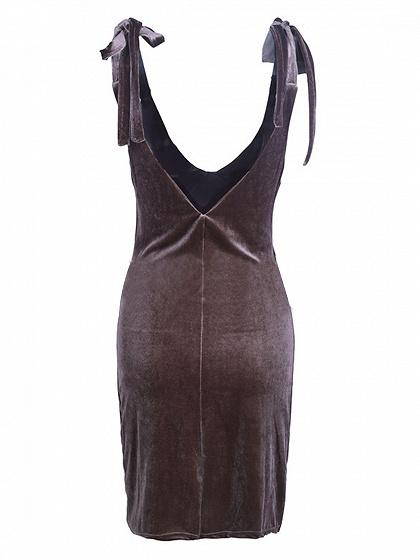 Brown Velvet V-neck Tie Shoulder Mini Dress