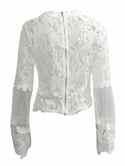 White Flare Sleeve Lace Blouse