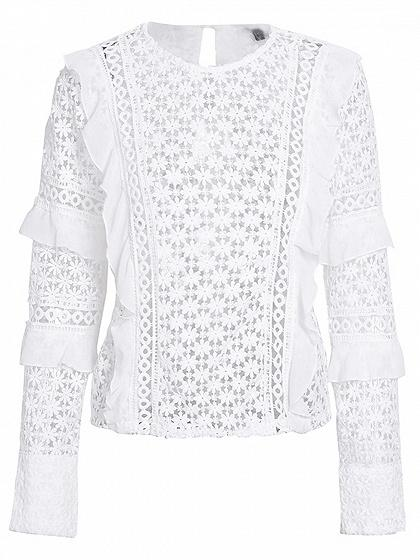 White Frill Trim Long Sleeve Lace Blouse
