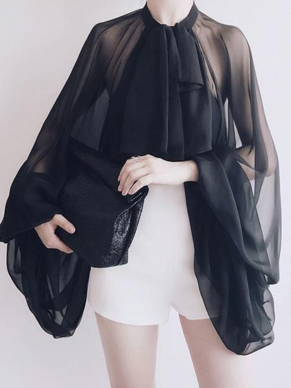 Black Open Back Puff Sleeve Blouse
