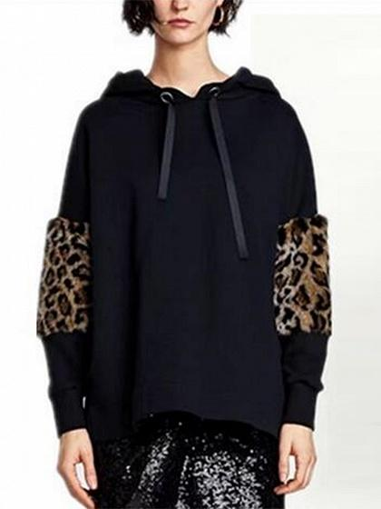 652ab440648f0 Black Drawstring Leopard Panel Long Sleeve Hoodie – chiclookcloset