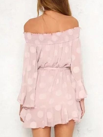 Pink Off Shoulder Tie Waist Polka Dot Long Sleeve Dress