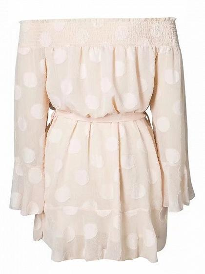Light Pink Off Shoulder Tie Waist Polka Dot Long Sleeve Dress