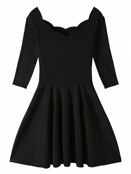 Black Scallop Edge Mini Dress