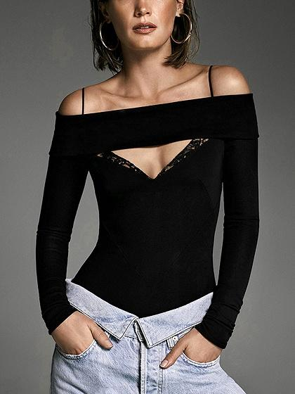 Black Off Shoulder Cut Out Detail Long Sleeve Bodysuit