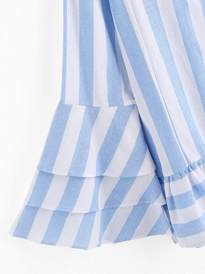 Blue Stripe Ruffle Hem Layered Flare Sleeve Blouse