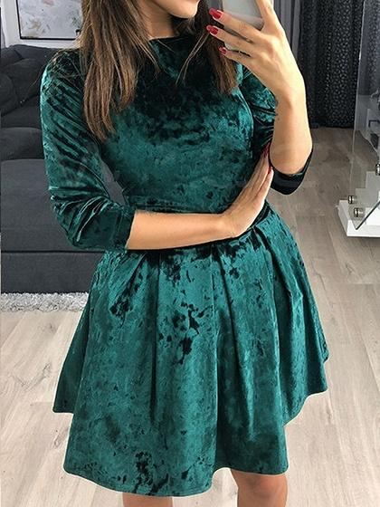 Green Velvet Mini Dress