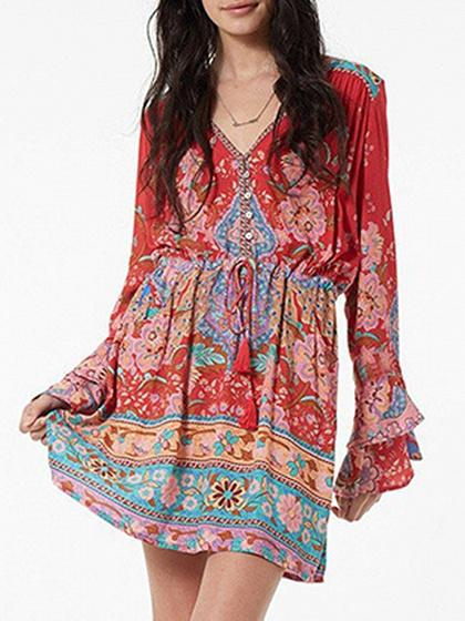Red V-neck Drawstring Waist Print Detail Long Sleeve Mini Dress