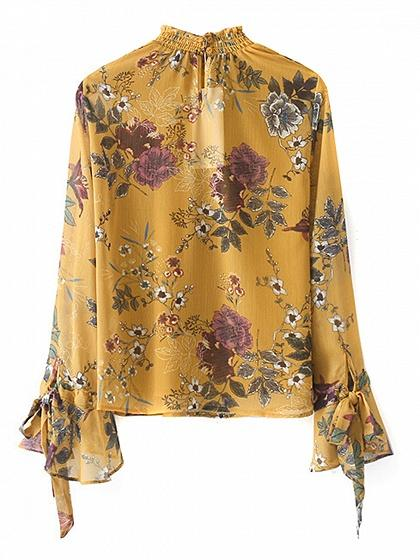 44a35247baf1b Yellow Floral Print Tie Cuff Flare Sleeve Blouse – chiclookcloset