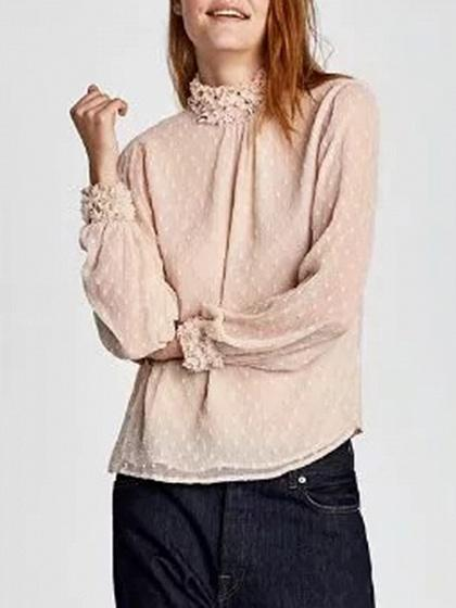 2723c3336 Pink High Neck Long Sleeve Blouse – chiclookcloset