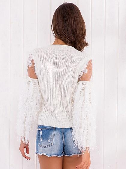 White Mesh Panel Fluffy Sleeve Knit Sweater