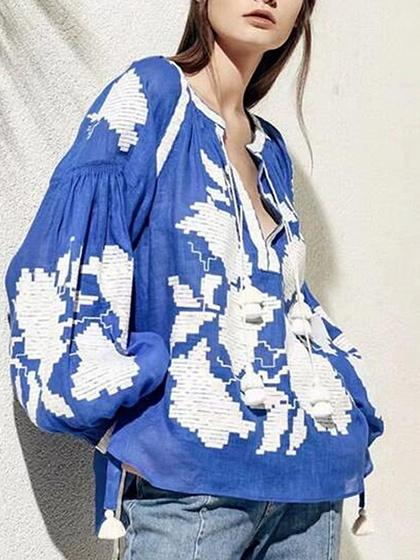 Blue Tassel Tie Embroidery Detail Puff Sleeve Blouse