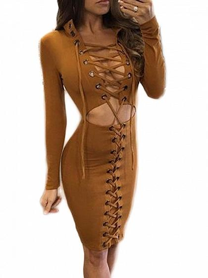 Brown Eyelet Lace Up Front Long Sleeve Dress