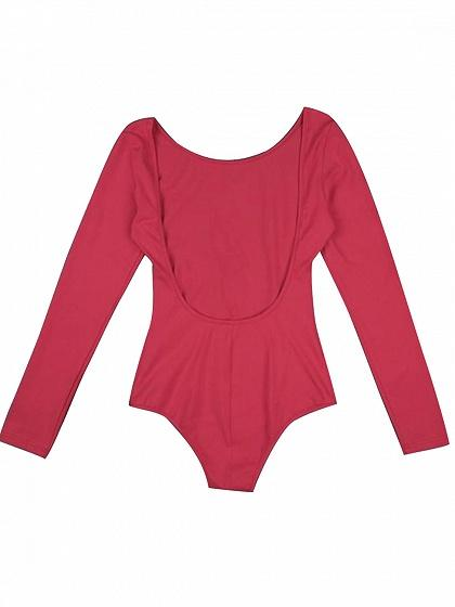 Red Open Back Long Sleeve Bodysuit – chiclookcloset 2a154f382