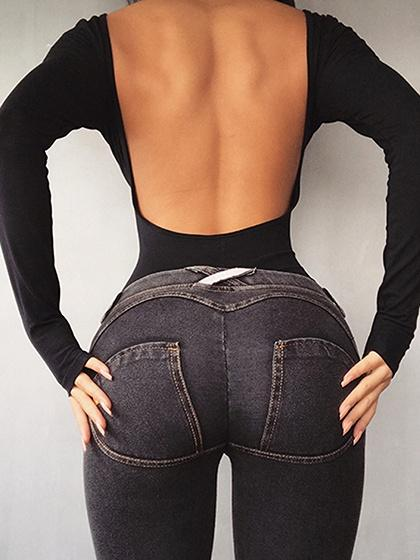 Black Open Back Long Sleeve Bodysuit – chiclookcloset ea0b02ec2