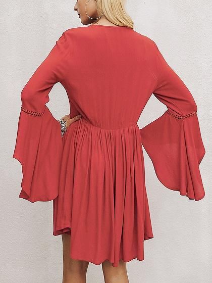 Red V-neck Cut Out Detail Flare Sleeve Dress