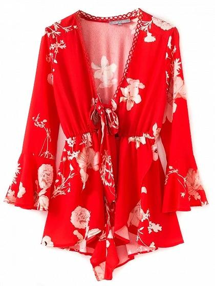 Red Plunge Tie Front Print Detail Flare Sleeve Romper Playsuit