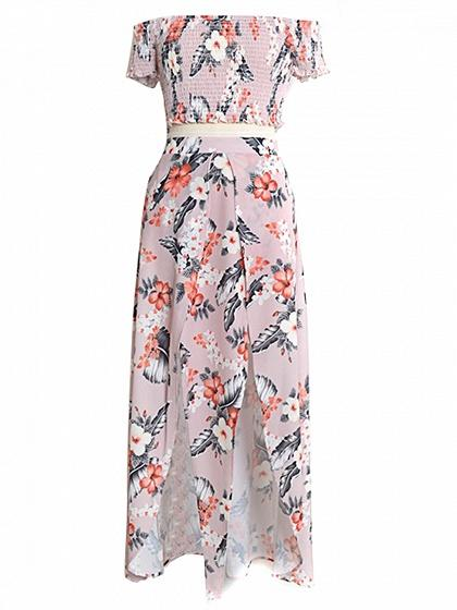 Pink Stretch Off Shoulder Print Crop Top And Thigh Split Skirt