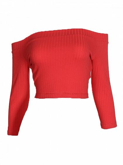 Red Off Shoulder Long Sleeve Ribbed Crop Top
