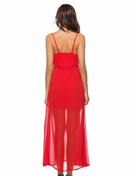 Red V-neck Spaghetti Strap Split Side Maxi Dress