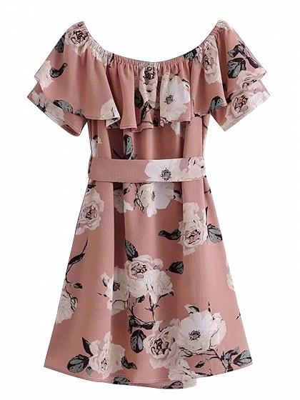 Pink Off Shoulder Tie Waist Floral Print Dress
