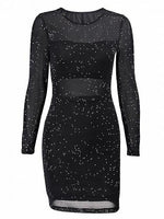Black Sequin Detail Long Sleeve Mesh Mini Dress