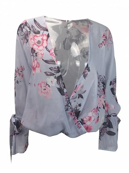 Polychrome V-neck Floral Print Tie Cuff Long Sleeve Blouse