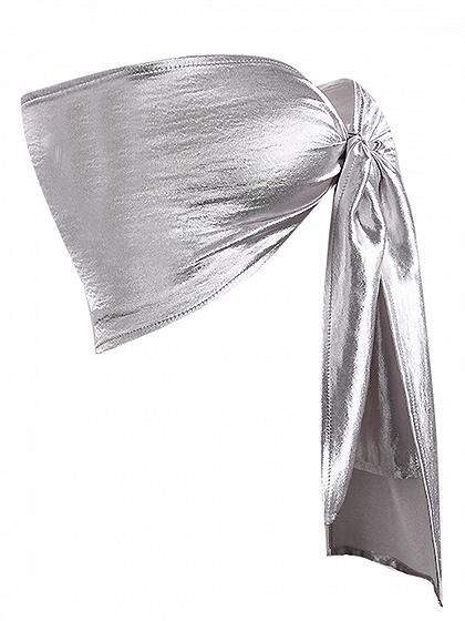 Silver Bandeau Bow Tie Front Bralet