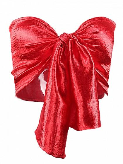 Red Bandeau Bow Tie Front Bralet
