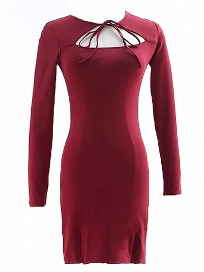 Red Tie Front Cut Out Detail Long Sleeve Mini Dress