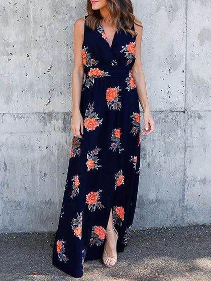 Dark Blue V-neck Floral Print Maxi Dress
