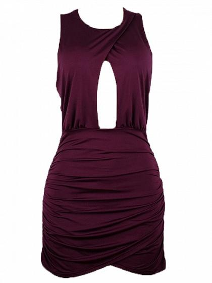 Purple Cut Out Front Ruched Detail Bodycon Mini Dress