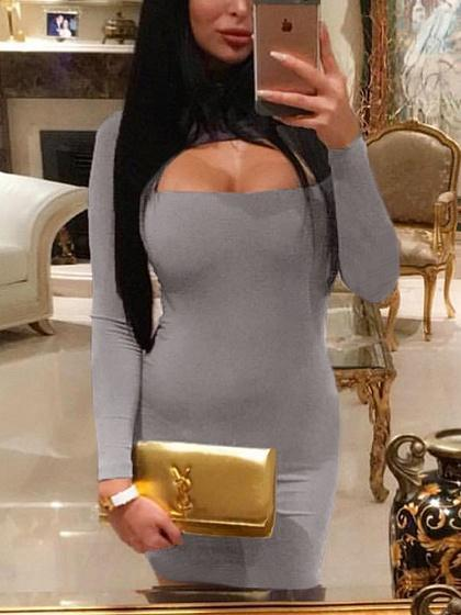 Gray Cut Out Front Long Sleeve Bodycon Mini Dress