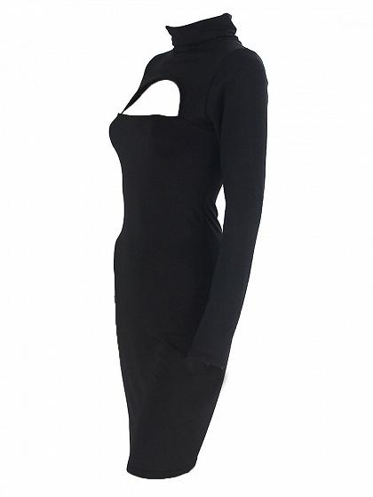 Black Cut Out Front Long Sleeve Bodycon Mini Dress
