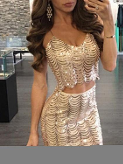 Gold Spaghetti Strap Sequin Detail Crop Top And Mini Skirt