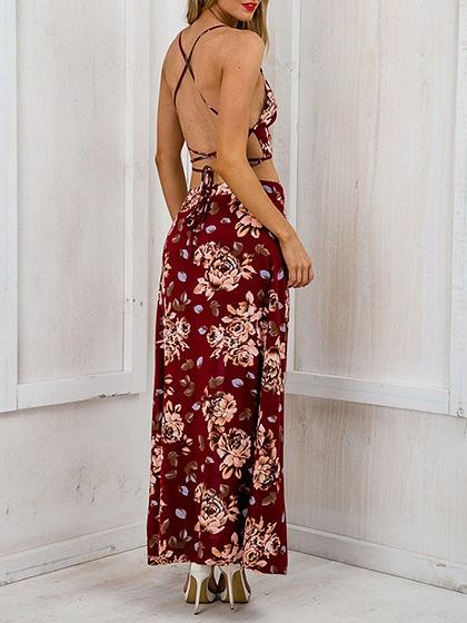 Red Floral Print Cross Strap Crop Top And Thigh Split Skirt
